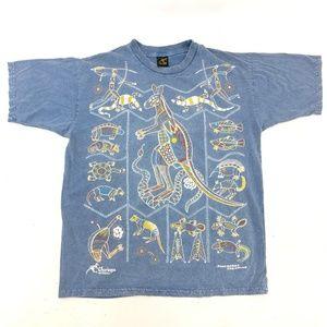 CHURINGA Koongarra Dreaming L T-shirt Blue Vintage